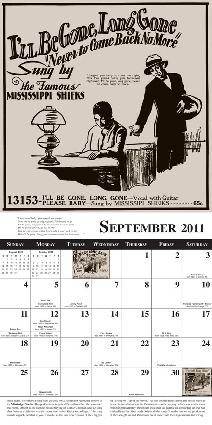 Tefteller 2011 Blues Calendar sample month