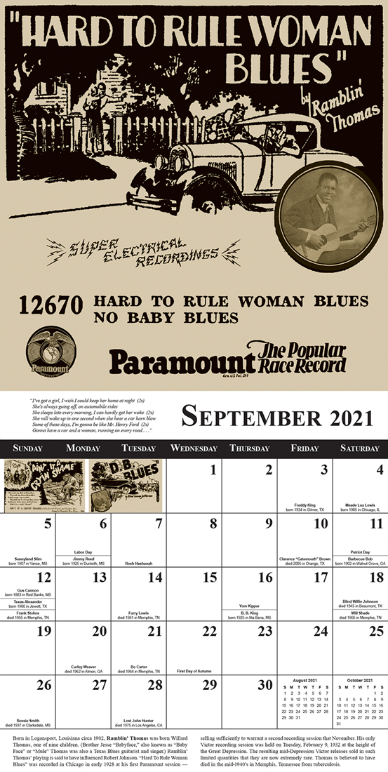 Tefteller 2021 Blues Calendar sample month